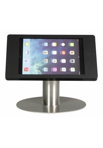 Tafelstandaard iPad Mini; Fino in zwart acrylaat op voet van RVS/staal