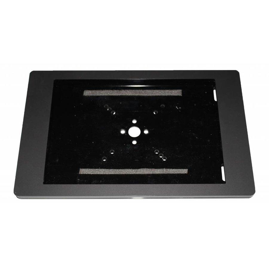 iPad houder zwart voor iPad Mini; Fino, stijlvolle houder voor wand-, tafel montage van gecoat staal met acrylaat behuizing inclusief slot