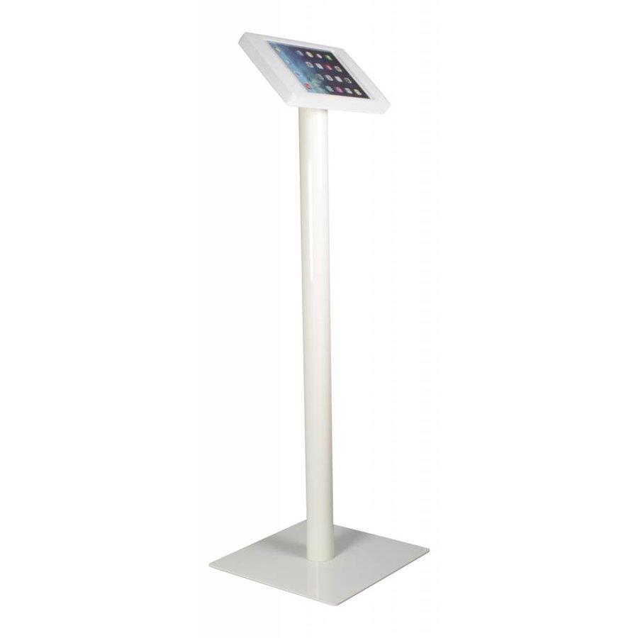 Vloerstandaard voor iPad Mini; Fino witte acrylaat behuizing met slot en voet van wit gecoat staal