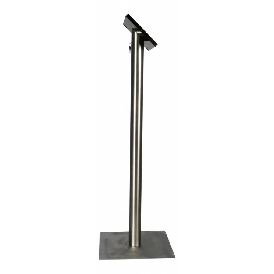 Vloerstandaard voor iPad Mini; Fino zwarte kunststof behuizing met slot en voet van RVS/ geborsteld staal