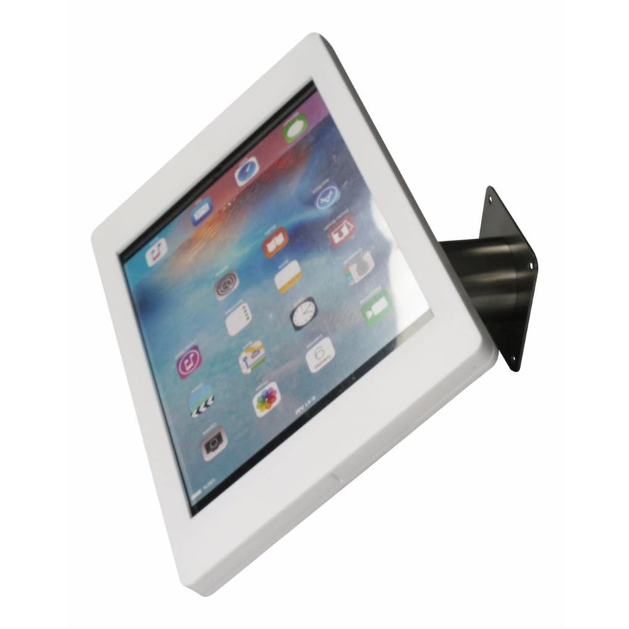 iPad houder wit/staal voor iPad Pro 12.9; Fino, stijlvolle houder voor wand-, tafel montage van blank staal met acrylaat behuizing inclusief slot