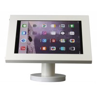 iPad 12.9-inch houder wit, bevestigd aan wand of tafel voor Apple Pro 12,9-inch; Securo 12-13 inch; afgesloten behuizing en voet van wit gecoat staal
