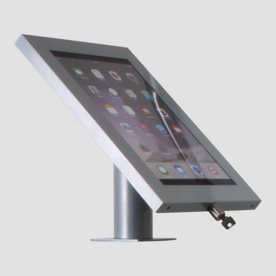 iPad 12.9 houder blank staal/ RVS, bevestigd aan wand of tafel voor Apple Pro 12,9-inch; Securo 12-13 inch; afgesloten behuizing en voet van geborsteld staal