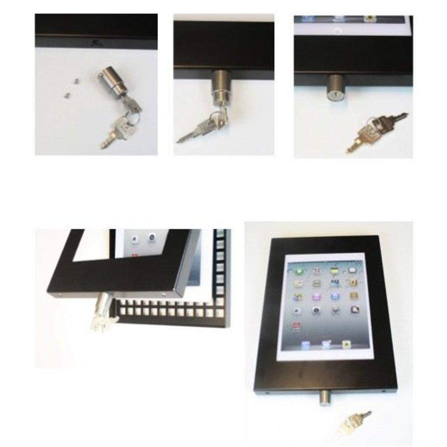 iPad 12.9 vloerstandaard Securo voor 12 tot 13 inch tablets; diefstalbestendige behuizing en voet van zwart gecoat staal