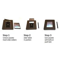 iPad standaard wit/blank staal voor iPad Mini,2/3/4; Meglio voor 7 tot 8 inch tablets, acrylaat cassette op geborsteld stalen stabiele voet