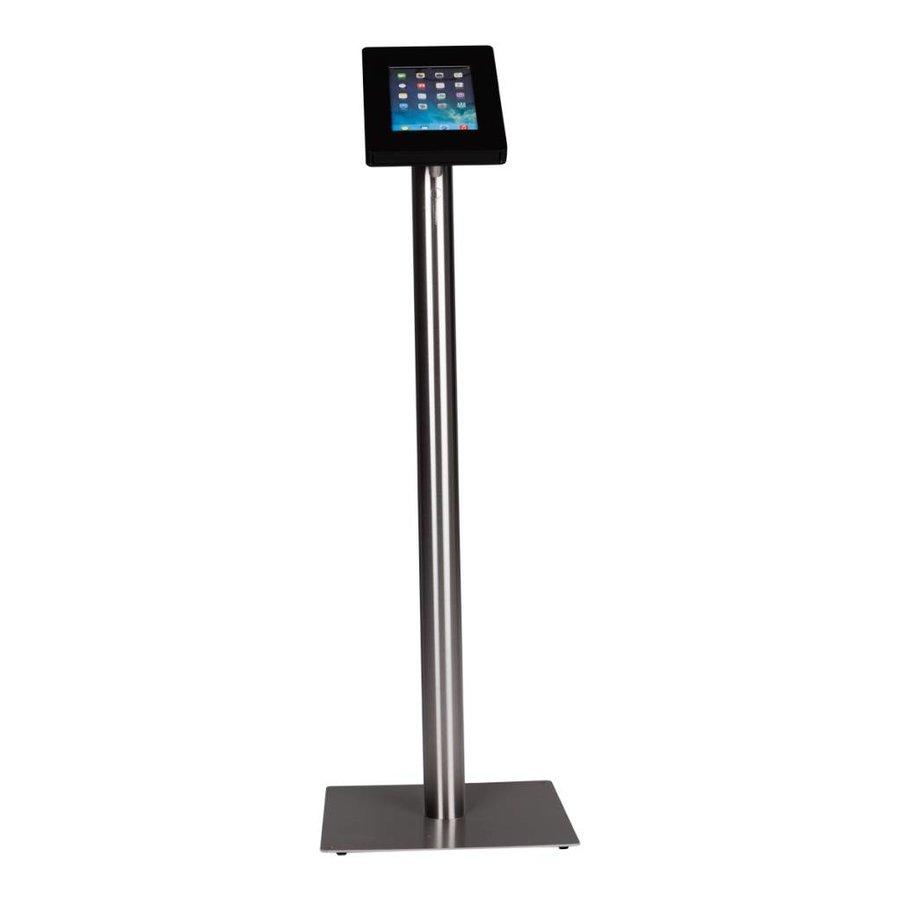 iPad vloerstandaard zwart/industrieel staal voor iPad Mini 2/3/4; Meglio 7 tot 8 inch tablets, stabiele standaard met diefstalbestendige behuizing van zwart acrylaat en voet van geborsteld blank staal