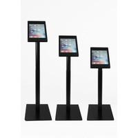iPad vloerstandaard zwart voor iPad Pro 9.7/ iPad Air; Fino, stabiele standaard van gecoat staal met acrylaat behuizing inclusief slot