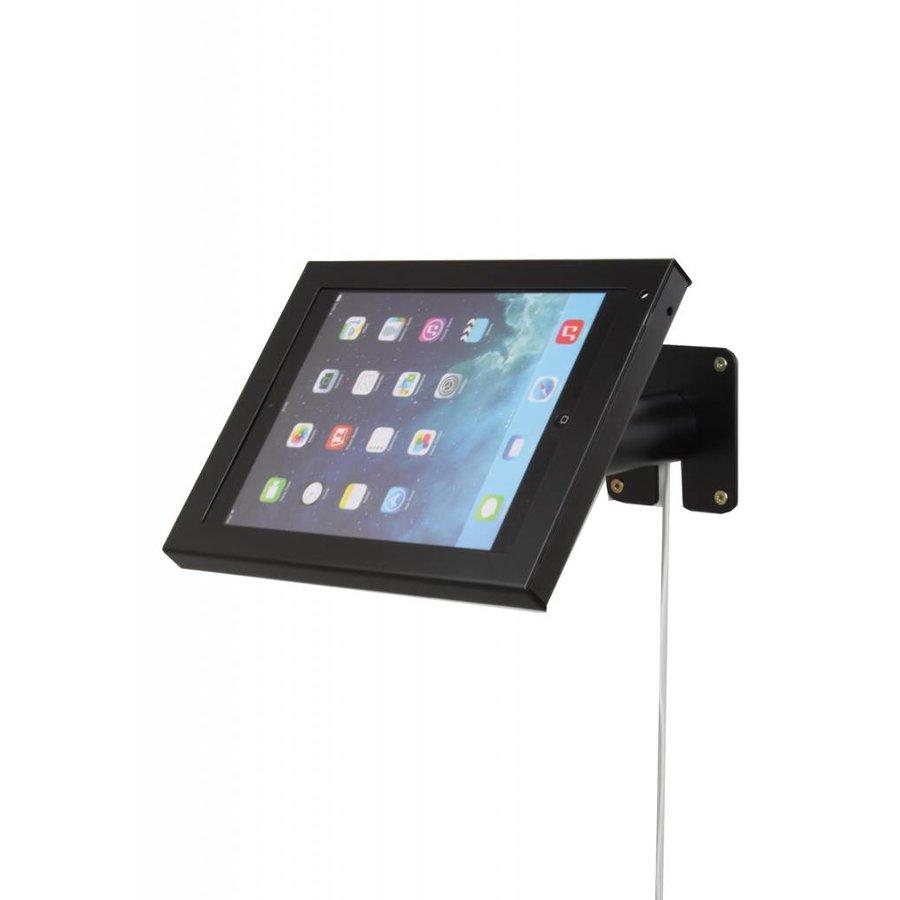 Budget tafelstandaard/wandhouder voor iPad 2017, Pro 9.7/ Air; Prezzo voor 9-10 inch tablets, met hangslot afsluitbare cassette en drie gebruiksmogelijkheden; wandmontage, tafelmontage en tafelstaander in gecoat zwart staal.