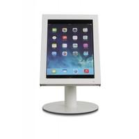 Budget tafelstandaard/wandhouder voor iPad 2017, Pro 9.7/ Air; Prezzo voor 9-10 inch tablets, met hangslot afsluitbare cassette en drie gebruiksmogelijkheden; wandmontage, tafelmontage en tafelstaander in gecoat wit staal.