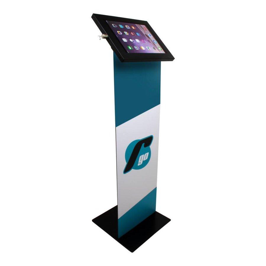 iPad 9.7/10.5 vloerstandaard met display, zwart, Securo; diefstalbestendige behuizing en voet van zwart gecoat staal