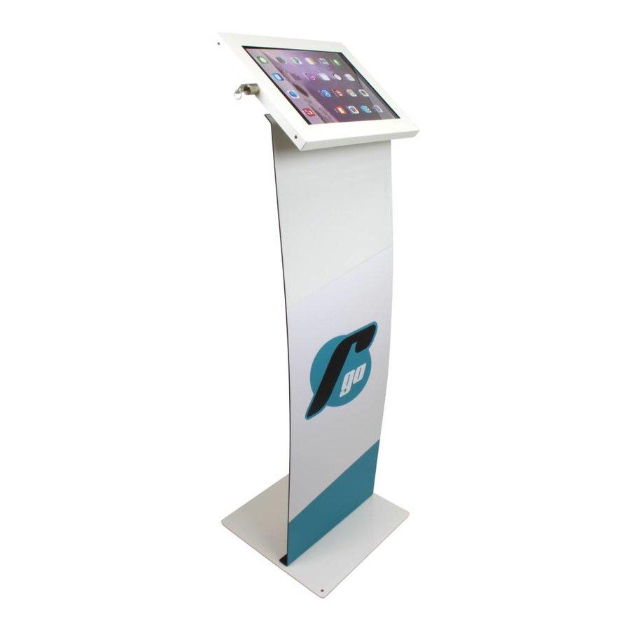 iPad 9.7/10.5 vloerstandaard met display, wit, Securo; diefstalbestendige behuizing en voet van wit gecoat staal