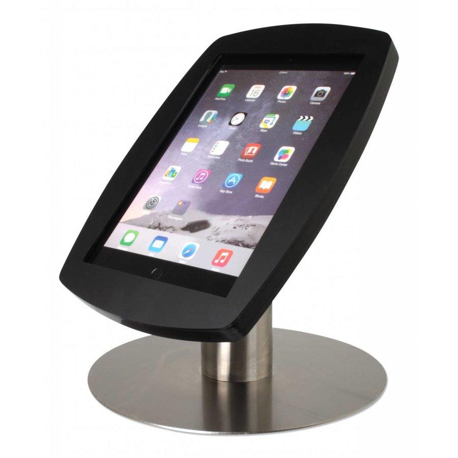 iPad 2017, iPad Air, Air 2/ iPad Pro 9.7-inch, stijlvolle stabiele tafelstandaard Lusso, inclusief slot, zwart/RVS