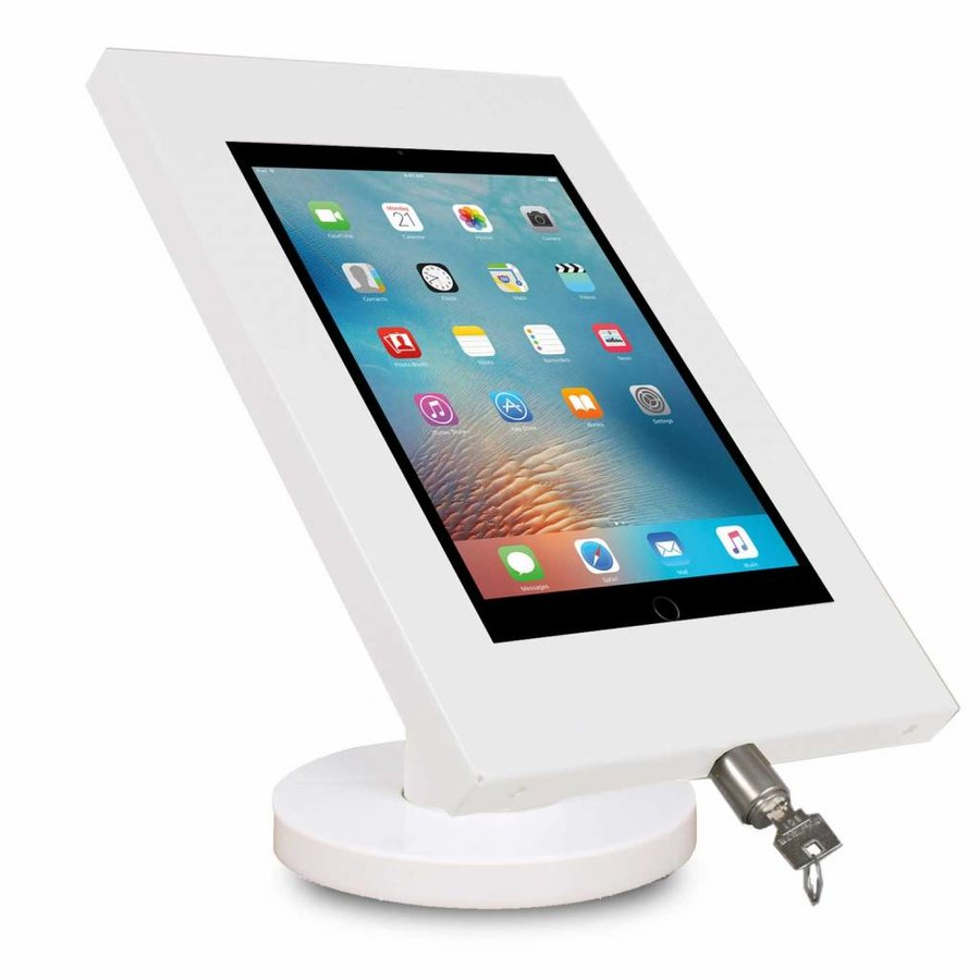 iPad 9.7/10.5 tafelhouder wit, bevestigd aan tafel voor Air, iPad 2017 en Pro 10,5-inch; Securo 9-11 inch; afgesloten behuizing en voet van wit gecoat staal