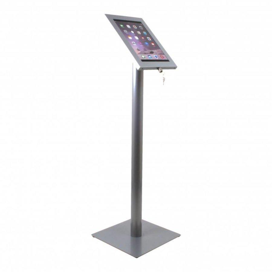 iPad 12.9 vloerstandaard Securo voor 12 tot 13 inch tablets; diefstalbestendige behuizing en voet van grijs gecoat staal