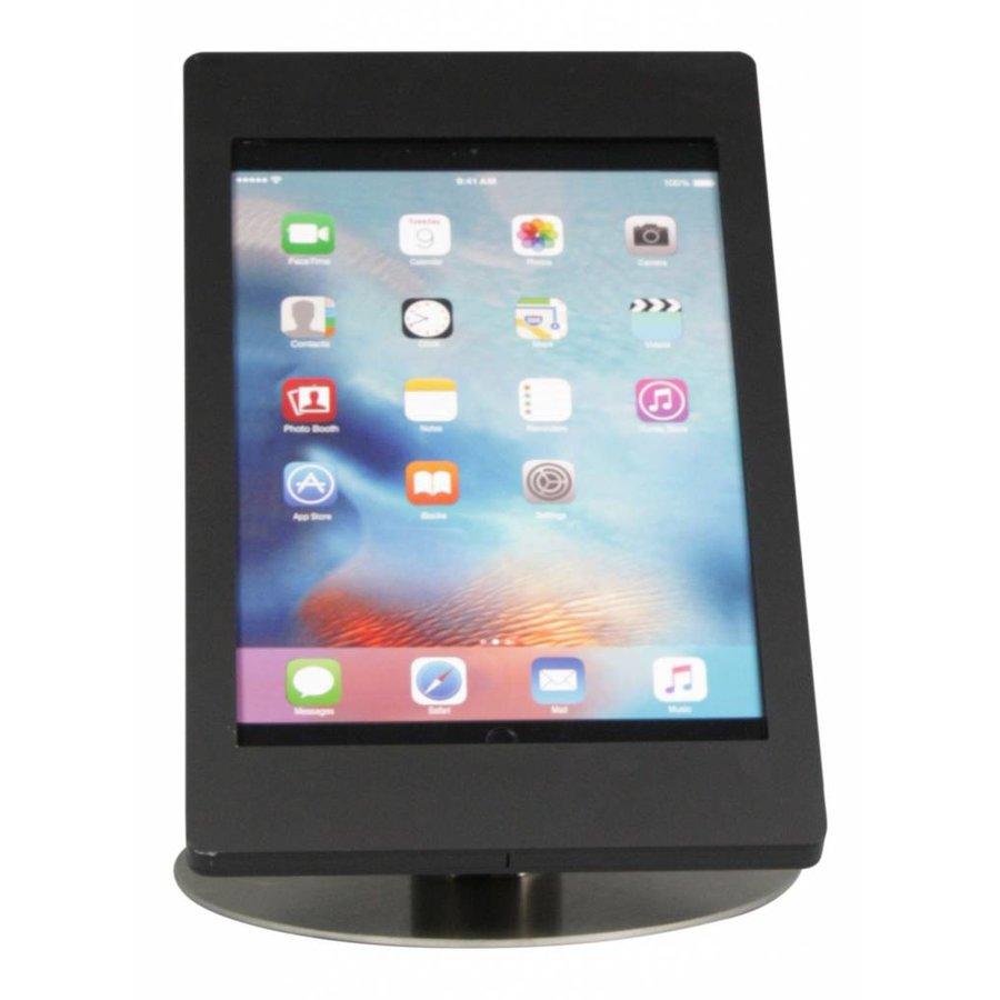 Tafelstandaard voor iPad Pro 12,9-inch; Fino zwarte acrylaat behuizing met slot en voet van gecoat staal