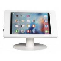 Tafelstandaard voor iPad Pro 12.9; Fino witte acrylaat behuizing met slot en voet van wit gecoat staal