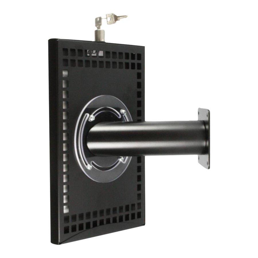 iPad mini houder zwart, bevestigd aan wand of tafel; Securo voor 7 tot 8 inch tablets; diefstalbestendige behuizing en voet van zwart gecoat staal