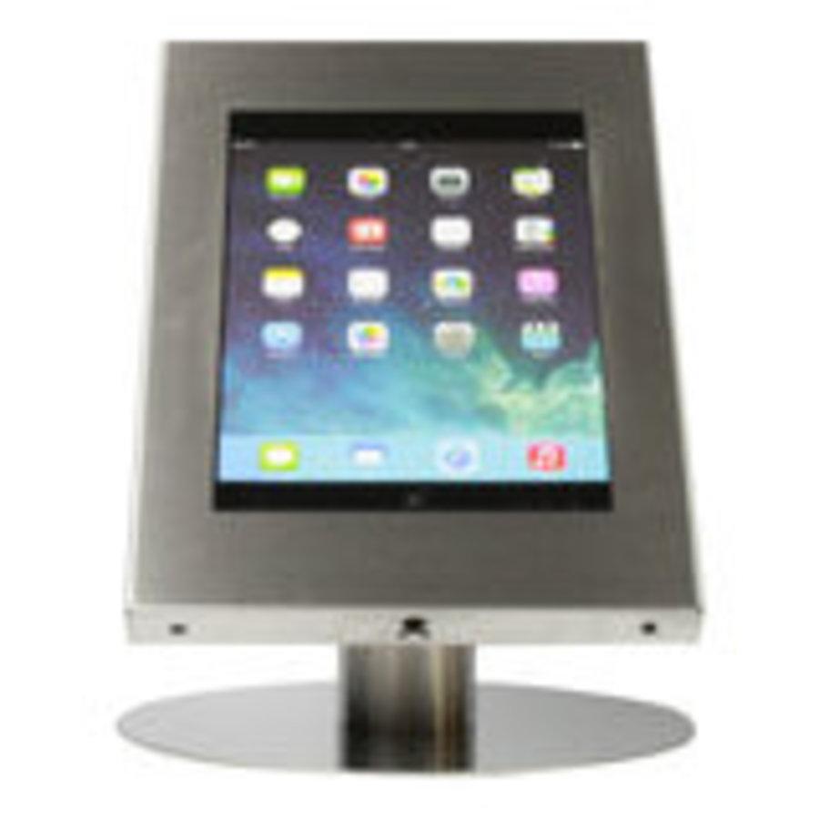 iPad 12.9 tafelstandaard blank staal/RVS, voor iPad Pro 12.9; Securo voor 12 tot 13 inch tablets; diefstalbestendige behuizing en voet van industrieel geborsteld staal
