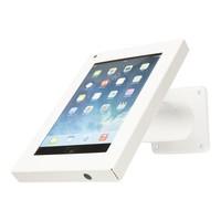 Witte iPad mini houder, bevestigd aan wand of tafel; Securo voor 7 tot 8 inch tablets; diefstalveilige behuizing en stevige voet van wit gecoat staal