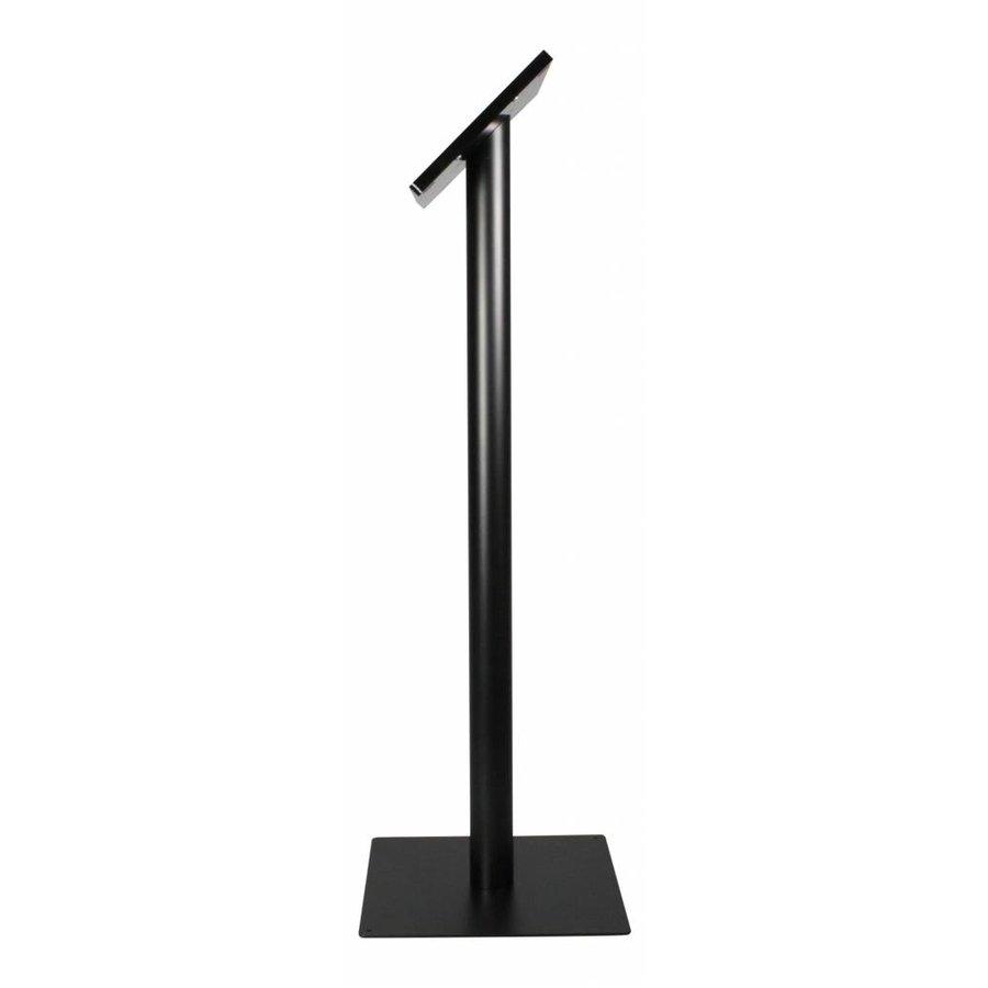 iPad vloerstandaard zwart voor iPad Gen 2/3/4; Fino, stabiele standaard van gecoat staal met acrylaat behuizing inclusief slot