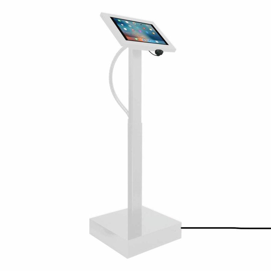 """Elektronisch aangedreven in hoogte verstelbare vloerstandaard voor 12-13"""" tablets, Ascento Securo in wit, met slot"""
