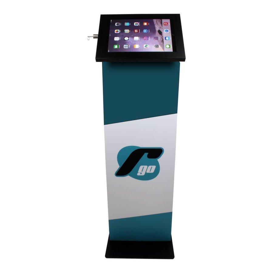 iPad 10.5-inch vloerstandaard met display, zwart, Securo; diefstalbestendige behuizing en voet van zwart gecoat staal