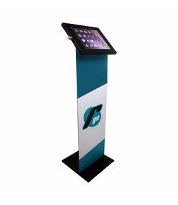 Tablet Vloerstandaard met reclame totem, voor 12-13 inch tablets, Securo, zwart