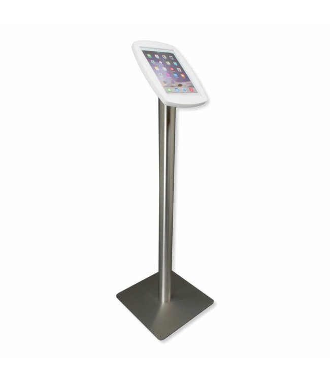 Bravour iPad floor stand for iPad Air, iPad Air 2, iPad Air 9,7 Lusso, white/stainless steel