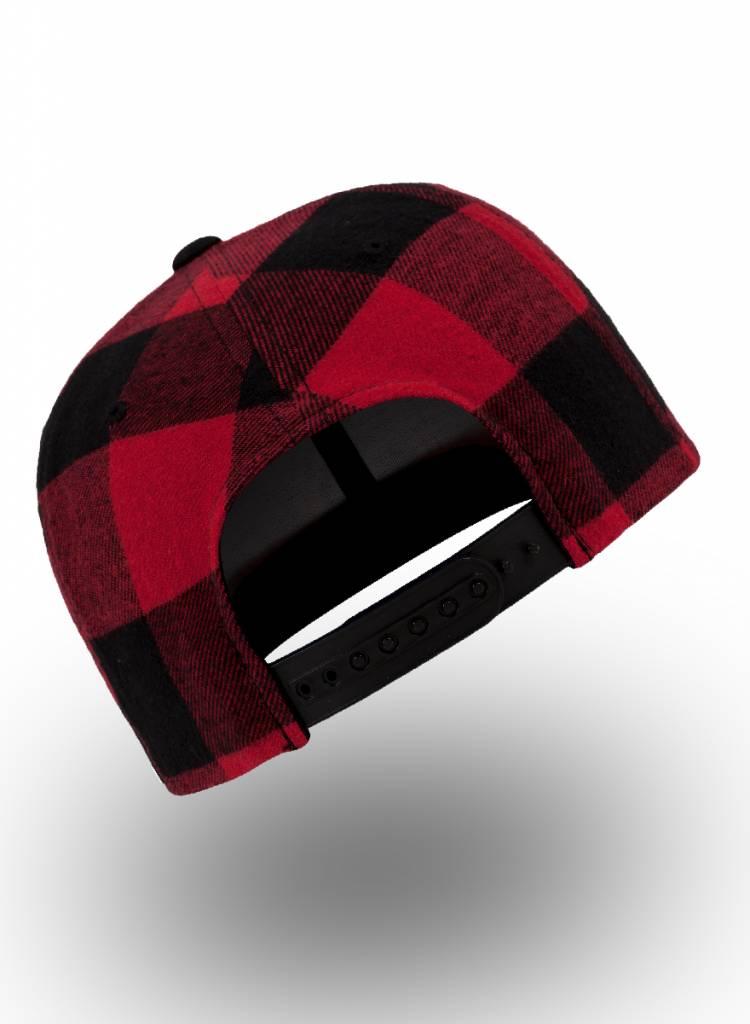 Yupoong Snapback Geruit Zwart Rood
