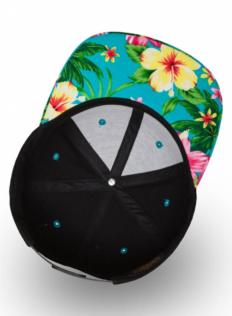 Yupoong Snapback Black Aqua Flowers