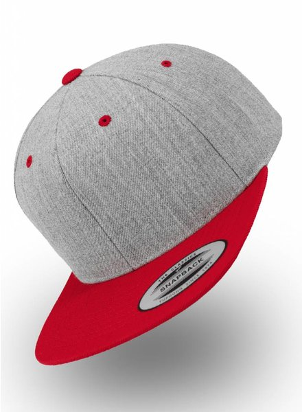 Yupoong Heather Grey - Red Snapback