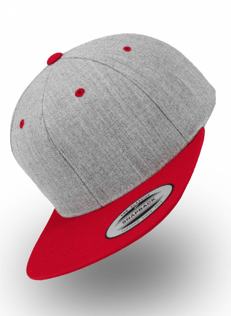 Flexfit by Yupoong Heather Grey - Red Snapback