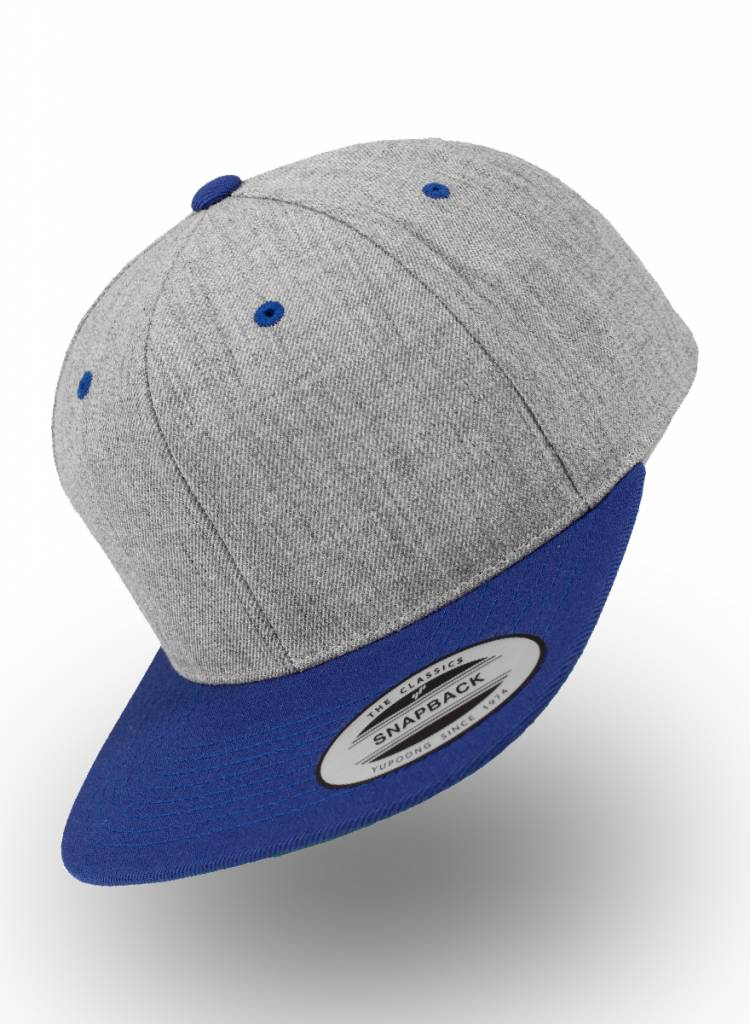 Yupoong Heather Grey - Royal Snapback