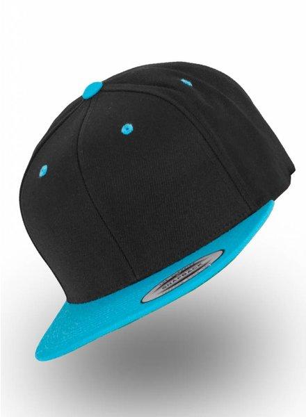 Flexfit by Yupoong Snapback Zwart- Aqua blauw