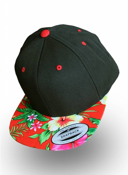 Yupoong Snapback Black Red Flowers