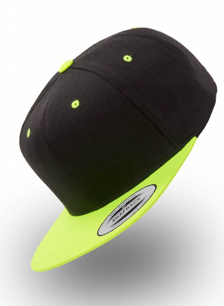 Yupoong Custom Snapback Zwart-Neon-Geel