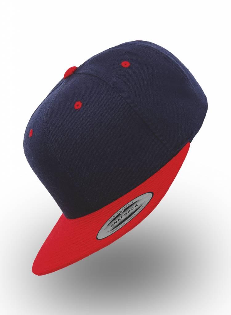 Yupoong Flexfit Snapback Donkerblauw Rood