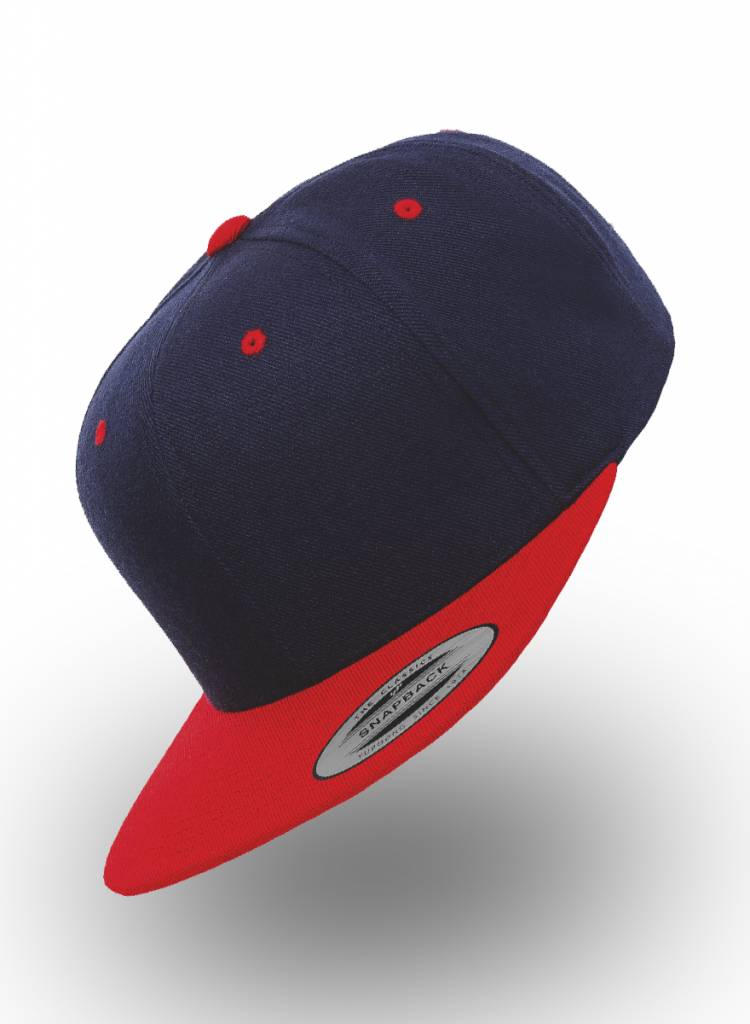 Yupoong Flexfit SnapbackDonkerblauw Rood