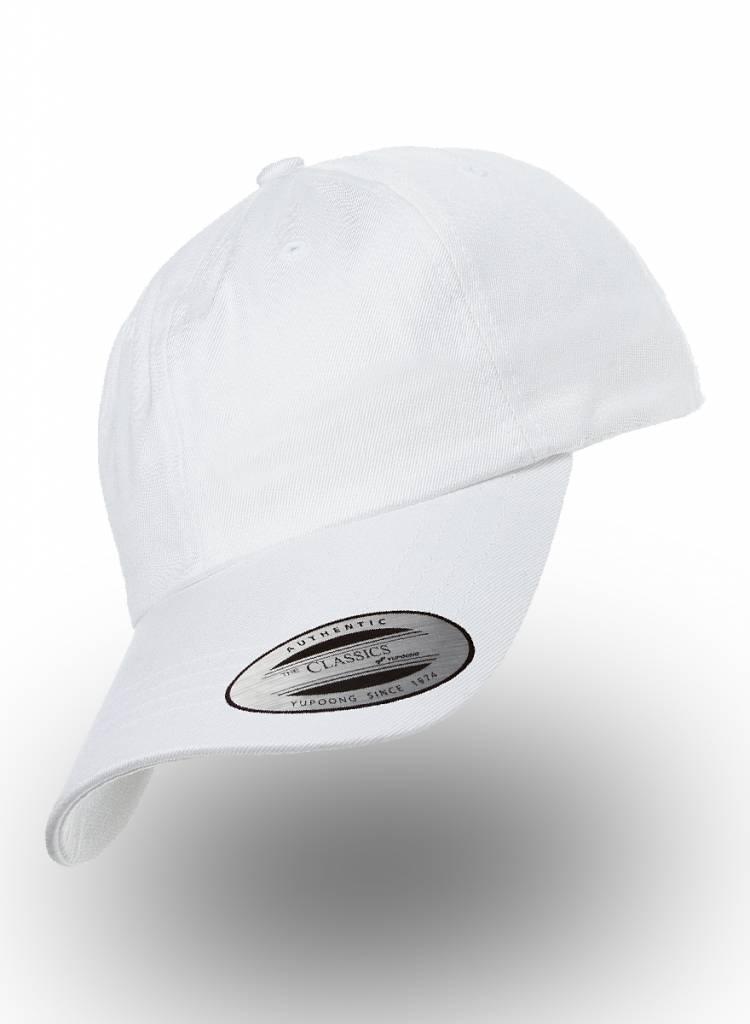 Yupoong Dad Cap met strap white