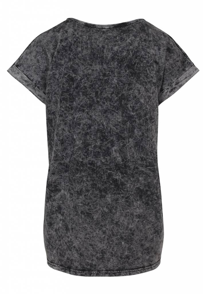 Go Urban Acid Washed Extended Shoulder Tee Grey Black