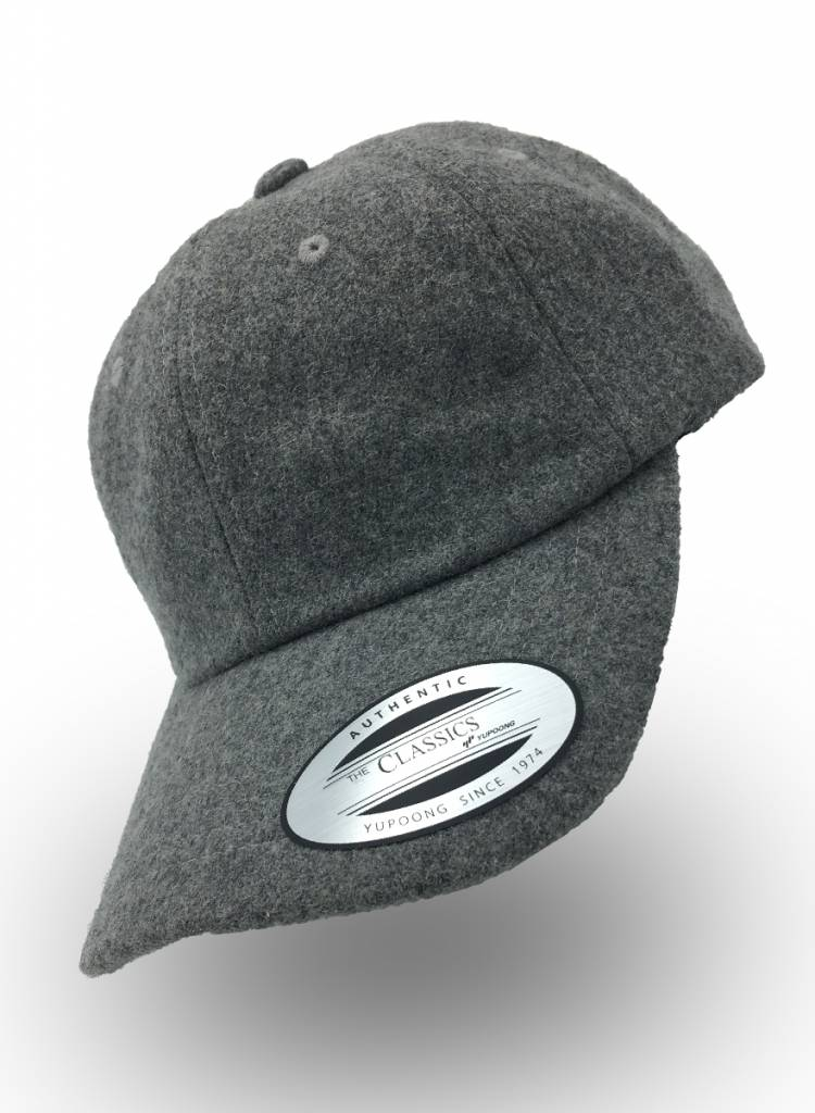 Yupoong Dad Cap Melton Wool Light Grey