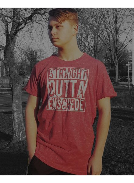 Urban Classics Shirt Red Gemeleerd Straight Outta Enschede