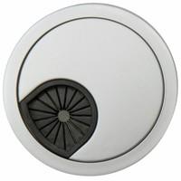 Kabeldoorvoer rond 3-delig kunststof met rubberen doorvoer zilvergrijs