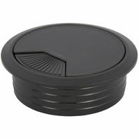 Kabeldoorvoer rond 2-delig met traploos verstelbare afsluiting kunststof zwart