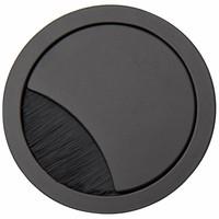 Kabeldoorvoer rond 2-delig met brede borstel afsluiting metaal zwart