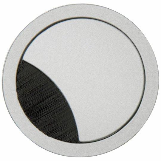 Kabeldoorvoer rond 2-delig met brede borstel afsluiting metaal zilvergrijs