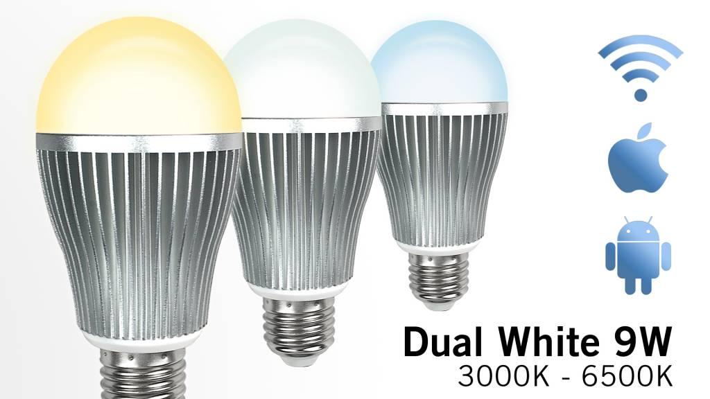 Wifi LED Lamp Mi-Light 9W Dual White E27. Op afstand bedienbaar