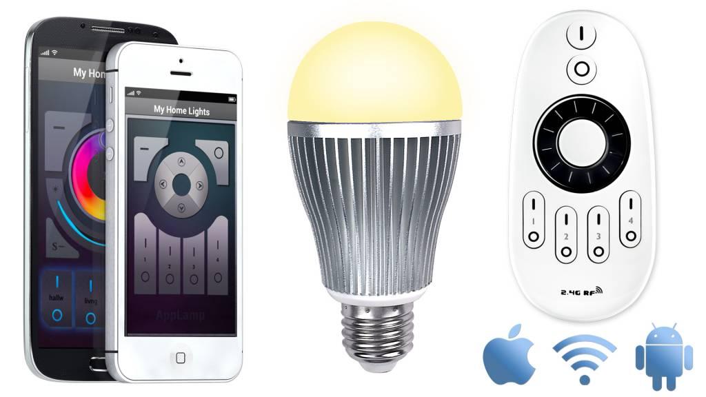 Mi·Light Wifi APP kit met één 9W Dual White LED - App en afstandsbediening