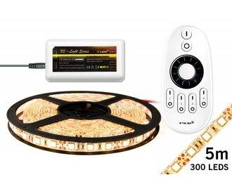 LED strip set Warm Wit 300 leds 72W 12V 5M met RF remote