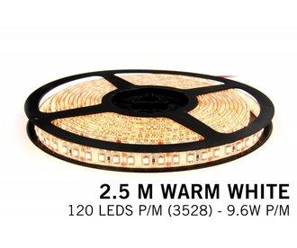 AppLamp Warm Wit LED strip 120 leds p.m. - 2,5 m. - type 3528 - 12V - 9,6W p.m.